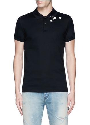Main View - Click To Enlarge - Saint Laurent - Star print cotton piqué polo shirt