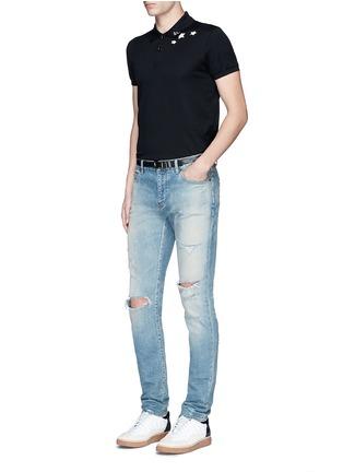 Figure View - Click To Enlarge - Saint Laurent - Star print cotton piqué polo shirt