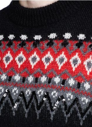 细节 - 点击放大 - SAINT LAURENT - 亮片点缀提花混马海毛针织衫