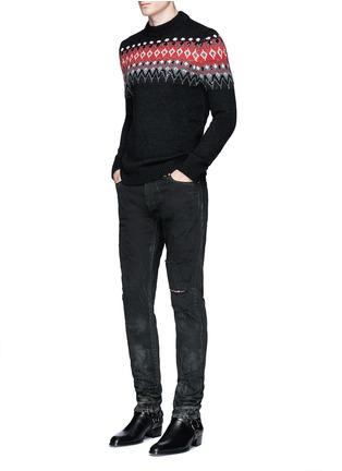 模特儿示范图 - 点击放大 - SAINT LAURENT - 亮片点缀提花混马海毛针织衫