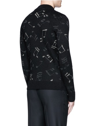 Back View - Click To Enlarge - Saint Laurent - Slim fit music note embroidered jacquard sweater