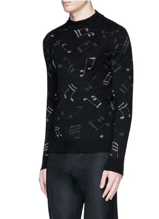 Front View - Click To Enlarge - Saint Laurent - Slim fit music note embroidered jacquard sweater