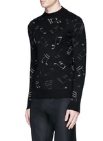 Slim fit music note embroidered jacquard sweater