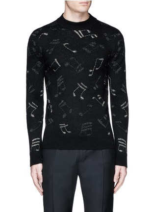 Main View - Click To Enlarge - Saint Laurent - Slim fit music note embroidered jacquard sweater