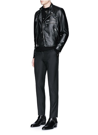 Figure View - Click To Enlarge - Saint Laurent - Slim fit music note embroidered jacquard sweater
