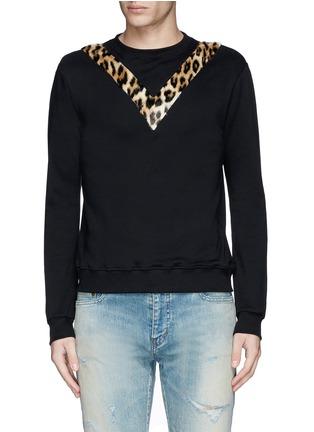 Main View - Click To Enlarge - SAINT LAURENT - Leopard print insert sweatshirt