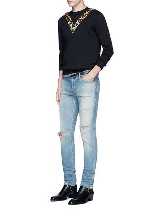 模特儿示范图 - 点击放大 - SAINT LAURENT - 豹纹V字拼贴纯棉卫衣