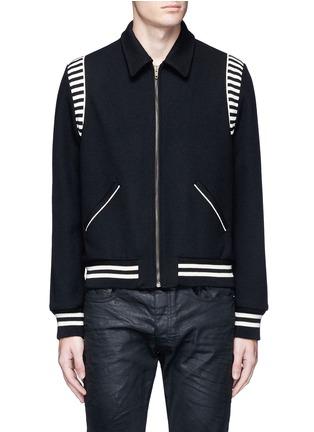 Main View - Click To Enlarge - Saint Laurent - Stripe rib trim wool bomber jacket