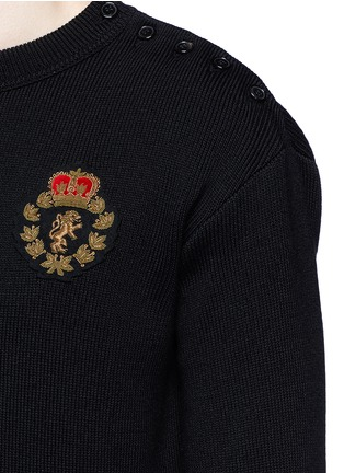 Detail View - Click To Enlarge - SAINT LAURENT - Lion patch cotton-wool sweater