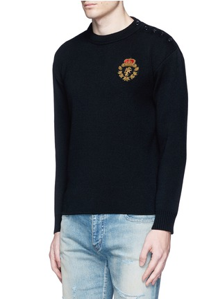 Front View - Click To Enlarge - SAINT LAURENT - Lion patch cotton-wool sweater