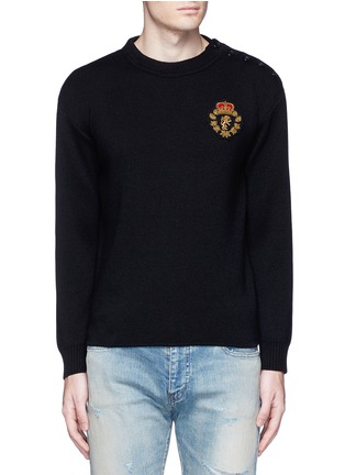 Main View - Click To Enlarge - SAINT LAURENT - Lion patch cotton-wool sweater