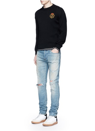 Figure View - Click To Enlarge - SAINT LAURENT - Lion patch cotton-wool sweater