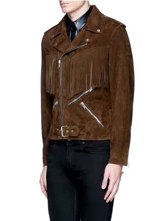 Front View - Click To Enlarge - Saint Laurent - Fringed suede motorcycle jacket