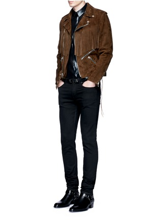 Figure View - Click To Enlarge - Saint Laurent - Fringed suede motorcycle jacket