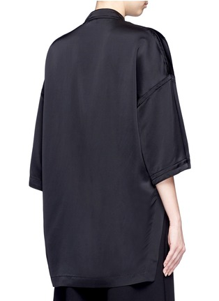 Back View - Click To Enlarge - Victor Alfaro - Drop shoulder satin tunic shirt