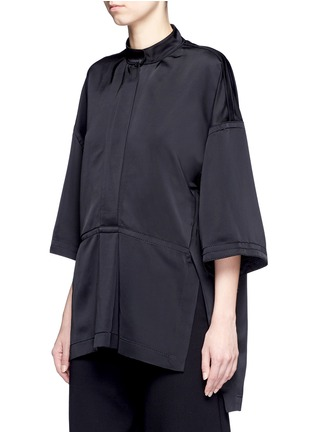 Front View - Click To Enlarge - Victor Alfaro - Drop shoulder satin tunic shirt