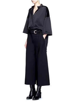Figure View - Click To Enlarge - Victor Alfaro - Drop shoulder satin tunic shirt