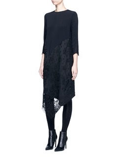 Victor Alfaro Asymmetric lace crepe dress