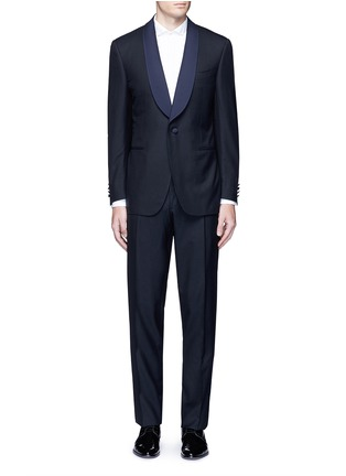Main View - Click To Enlarge - Canali - 'Venezia' contrast trim wool tuxedo suit