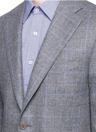 Detail View - Click To Enlarge - Canali - 'Capri' windowpane check wool-cashmere blazer