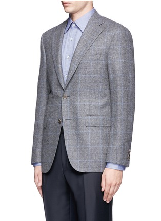 Front View - Click To Enlarge - Canali - 'Capri' windowpane check wool-cashmere blazer