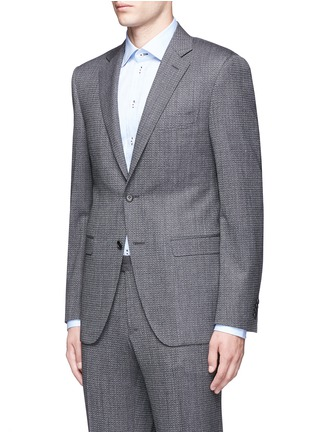 Front View - Click To Enlarge - Canali - 'Travel' chevron stripe wool suit