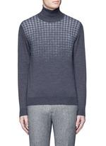 Houndstooth Merino wool turtleneck sweater