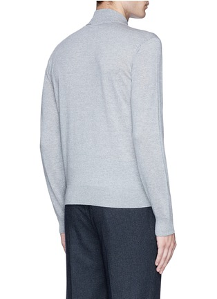Back View - Click To Enlarge - Canali - Embossed zip front wool sweater
