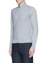 Embossed zip front wool sweater
