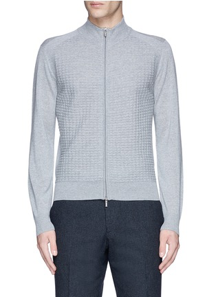 Main View - Click To Enlarge - Canali - Embossed zip front wool sweater