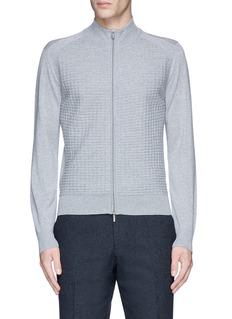 CanaliEmbossed zip front wool sweater