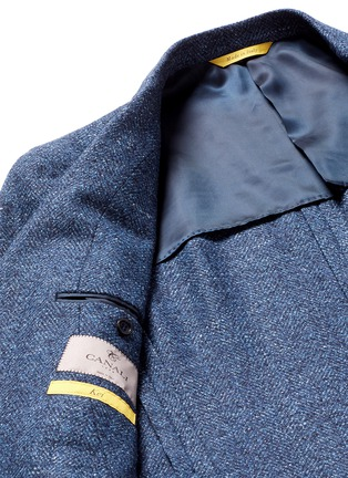 - Canali - 'Kei' wool-silk-linen herringbone blazer