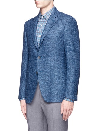 Front View - Click To Enlarge - Canali - 'Kei' wool-silk-linen herringbone blazer