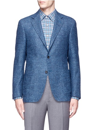Main View - Click To Enlarge - Canali - 'Kei' wool-silk-linen herringbone blazer
