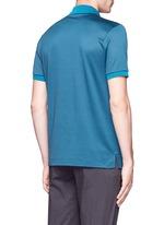 Square motif silk-cotton polo shirt