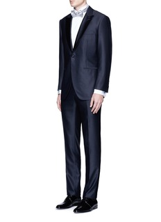 Canali Pleated piqué bib cotton tuxedo shirt