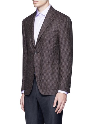 Front View - Click To Enlarge - Canali - 'Kei' wool-cashmere tweed soft blazer