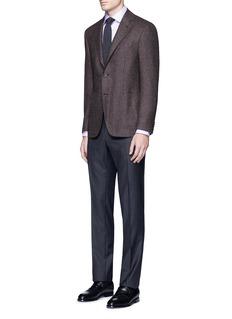 Canali'Kei' wool-cashmere tweed soft blazer