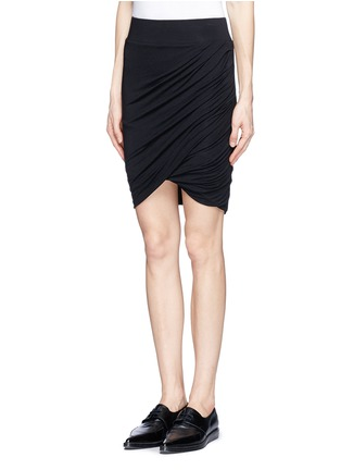 Front View - Click To Enlarge - Helmut Lang - Asymmetric twist modal-wool skirt