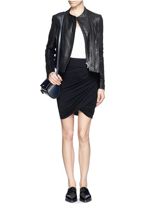 Figure View - Click To Enlarge - Helmut Lang - Asymmetric twist modal-wool skirt