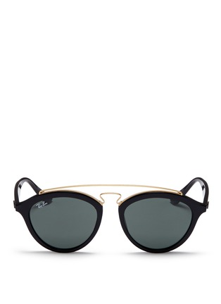 Main View - Click To Enlarge - Ray-Ban - 'RB4257' metal browline bridge acetate phantos sunglasses