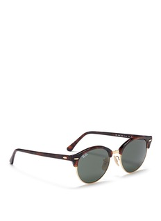 RAY-BAN'Clubround' tortoiseshell acetate browline metal sunglasses