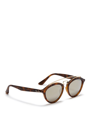 Figure View - Click To Enlarge - Ray-Ban - 'RB4257' metal browline bridge tortoiseshell acetate phantos sunglasses