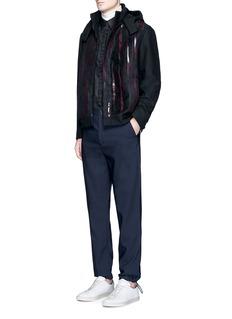 Wan HungGlossy stripe print hooded jacket