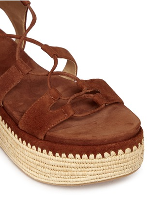Stuart Weitzman - 'Romanesque' raffia platform lace-up gladiator suede sandals