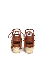 'Romanesque' raffia platform lace-up gladiator suede sandals