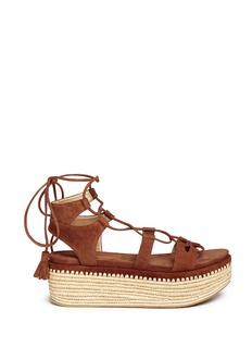 STUART WEITZMAN 'Romanesque' raffia platform lace-up gladiator suede sandals
