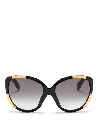 Main View - Click To Enlarge - Alexander McQueen - Inset metal block acetate oversize sunglasses