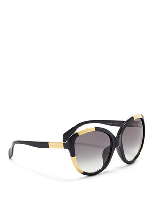 Figure View - Click To Enlarge - Alexander McQueen - Inset metal block acetate oversize sunglasses