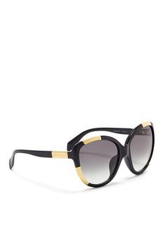 ALEXANDER MCQUEENInset metal block acetate oversize sunglasses
